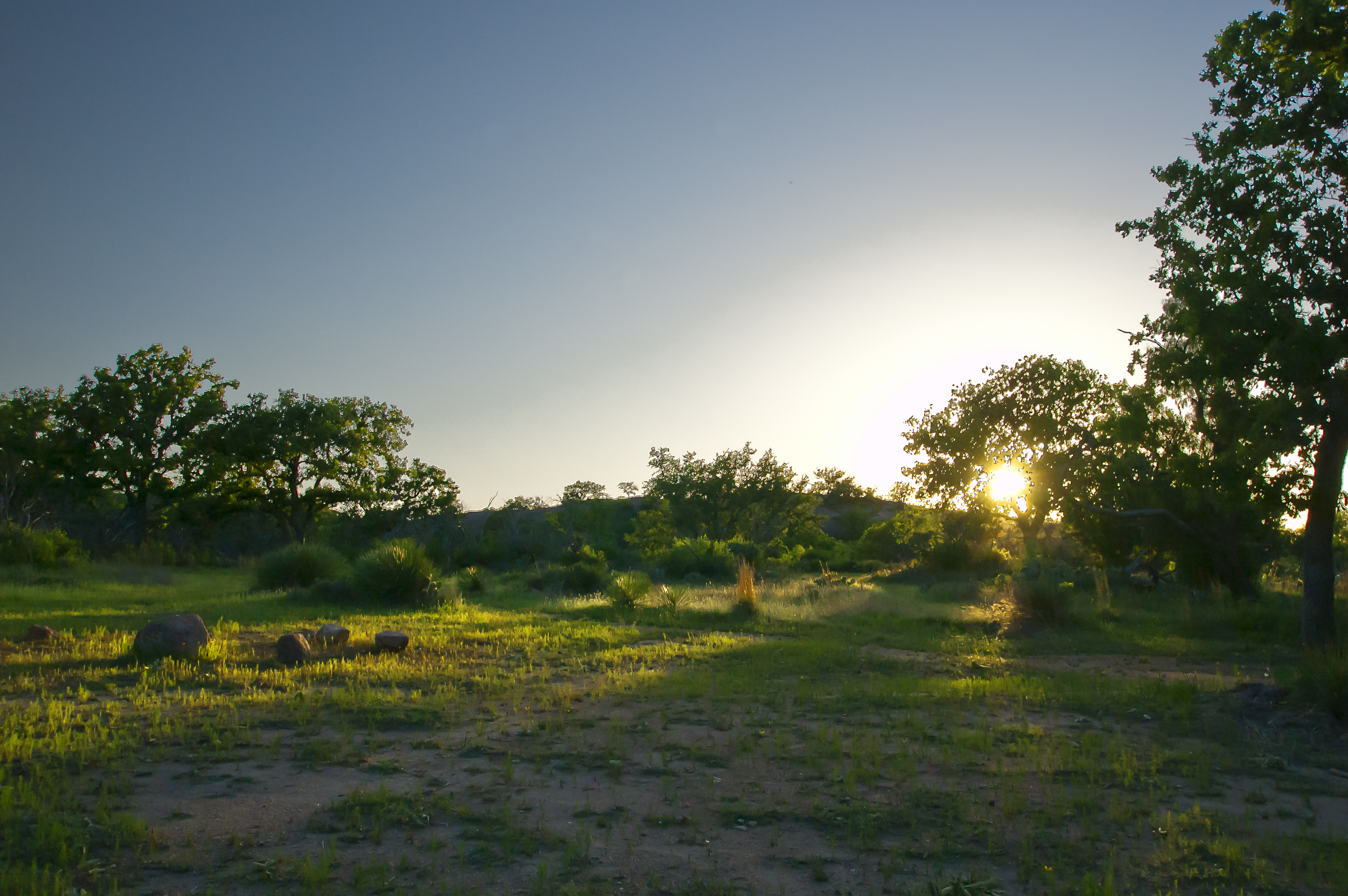 Sunset back country camping at Enchanted Rock, Texas; outside of Fredericksburg