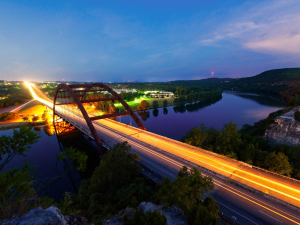 Austin Texas Pennybacker (360) Bridge early morning sunset